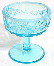 L.G. Wright - Blue Opalescent - Paneled Grape - Sherbets - Lot of 2