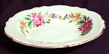 Homer Laughlin Virginia Rose Shape - Peony or Spring Wreath Pattern - Flat Soup