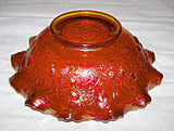 Fenton - Persian Medallion / Bearded Berry - Orange Carnival - Crimped Edge Bowl 8""