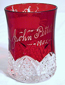 "EAPG - Duncan Miller - Button Arches - Ruby Flashed Tumbler 4"" - John Pettit 1905"