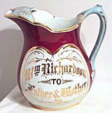 Dresden China Co.- Presentation Pitcher - Wm Richardson