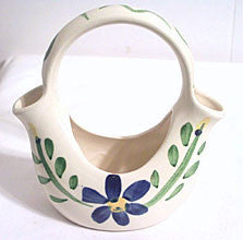 Purinton Pottery - Blue Pansy - Basket 6 1/4""
