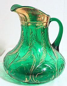 EAPG - Dugan - Waving Quill - Emerald Green w/ Gold - Pitcher 9 1/4""