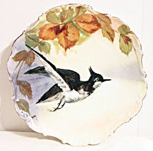 Limoges - Hand Painted -  Flambeau China - Bird Plate - Signed Rene