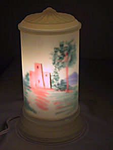 Tiffin - Castle Scene - Reverse Painted - Lamp