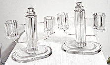 Heisey Ridgeleigh - Elegant Glass Double Candleholders - Pair