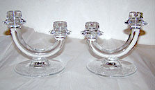 "Fostoria - Romance - Double Candleholders - 6 1/4"" Wide x 5 1/4"" high"