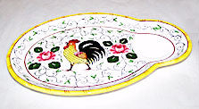 "Ucagco PY - Rooster & Roses - Snack Plates - 9 3/4"" x 7"" - Set of 3"