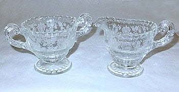 Elegant Glass - Cambridge - Rosepoint - 3500 Individual Creamer & Sugar Set 2 1/2""