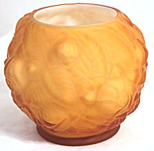 L.G. Wright - Rose Bowl - Amber Satin Overlay - Embossed Roses 5""