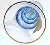 Tiffin - Rose of Britain - Copen Blue Gold Encrusted Vase - Swedish Optics 12 7/8""