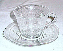 Depression Glass - Hazel Atlas - Royal Lace - Cup & Saucer Sets - Clear