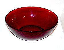 Anchor Hocking - R-1700 Line - Large Berry / Serving Bowl - Royal Ruby - 8 1/2""