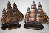 BornZMet / Gift House - Sailing Ship - Bookends - Cast Iron 6""