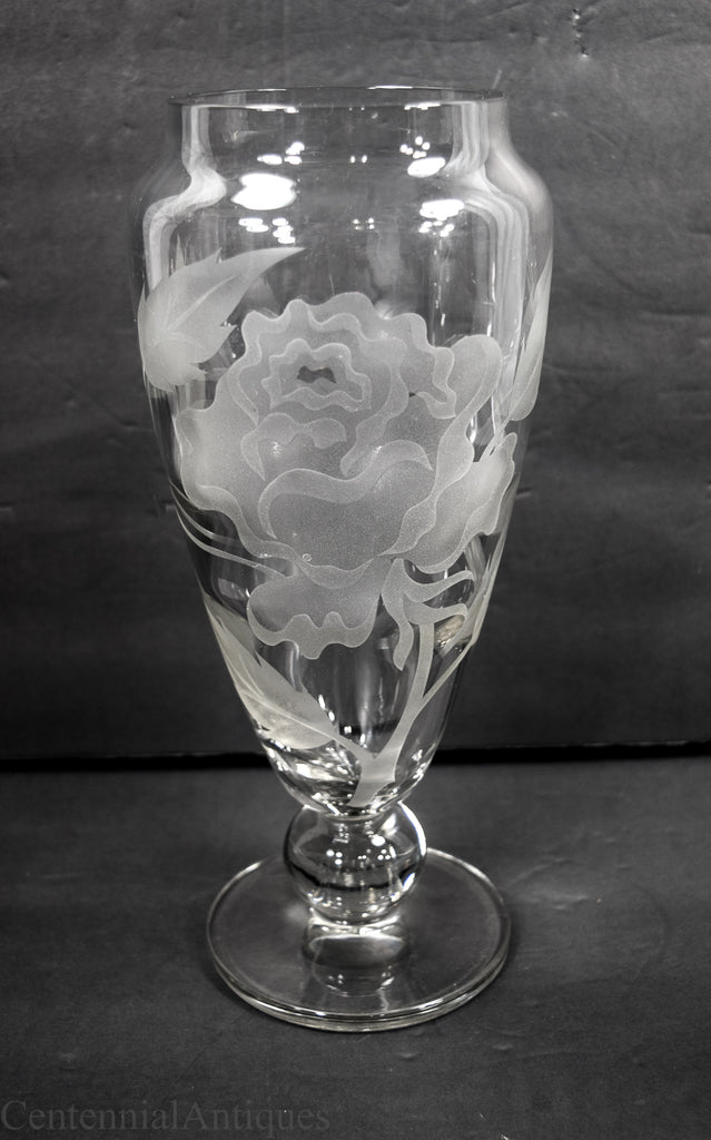Tiffin Modern Sand Carved Roses Urn Vase