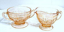 Depression Glass - Federal - Sharon / Cabbage Rose - Pink Cream & Sugar Set