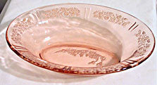 Depressioin Glass - Federal Sharon - Pink Oval Bowl 9.5""