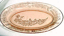 Federal - Sharon / Cabbage Rose - Pink Oval Platter 12 1/2""