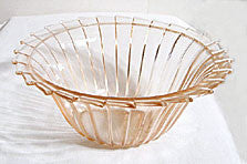 Depression Glass - Jeannette - Sierra / Pinwheel - Large Pink Berry Bowl 8 1/2""