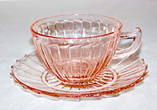 Depression Glass - Jeannette - Sierra / Pinwheel - Pink Cup & Saucer Sets - Lot of 2
