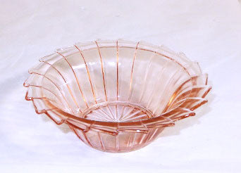 "Depression Glass - Jeannette - Sierra / Pinwheel - Pink Cereal Bowl 5 3/8"" - Lot of 2"