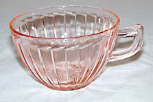Depression Glass - Jeannette - Sierra / Pinwheel - Pink Cups  - Lot of 2