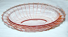 Depression Glass - Jeannette - Sierra / Pinwheel - Pink Oval Vegetable Bowl 9 1/4""