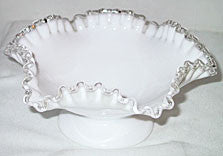 "Fenton - Silver Crest - Footed Bowls 8 1/2"" - Lot of 2"
