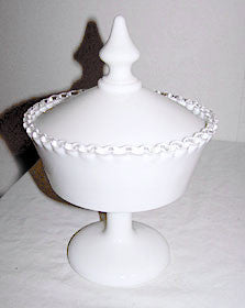 Fenton - Silver Crest - Milk Glass - Covered Candy Box 9 1/2""