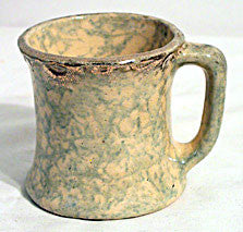 Yellow & Green Spongeware Mug w/ Gold Decoration