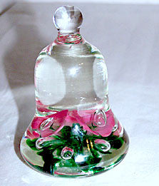 Joe St Clair - Paperweight / Bell - Pink Ice Pick Flowers w/ Controlled Bubble Centers 4""