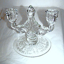 "Elegant Glass - Heisey - Tea Rose - Double Candle Holder 5 1/4"" x 6 1/2"""