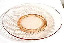 "Depression Glass - Imperial - Twisted Optic - 8"" Salad Plates - Lot of 4"