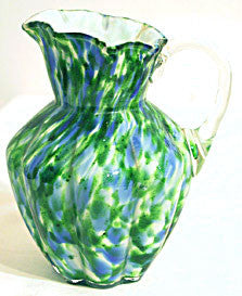 Fenton - Vasa Murrhina - Aventurine Green w/ Blue - Cream Pitcher