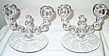 Elegant Glass - Lotus - Vesta - Double Candle Holders - Pair