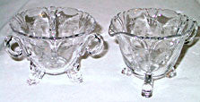 Elegant Glass - Lotus - Vesta - Cream & Sugar