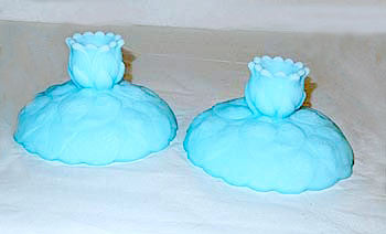 Fenton - Water Lily - Blue Satin -  Candle Holders