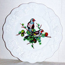 "Elegant Glass - Westmoreland - Panel Grape - Milk Glass Plate 8 1/2"" - 2 Gray Birds"
