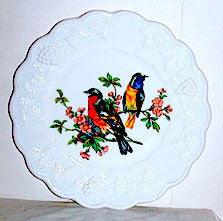"Elegant Glass - Westmoreland - Panel Grape - Milk Glass Plate 8 1/2"" - 2 Orange Birds"