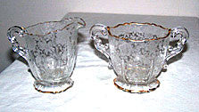 Elegant Glass - Cambridge - Wildflower - Creamer & Sugar Set - w/ Gold Trim
