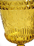 L G Wright - Wildflower - 1960s Amber Water Goblets 6""