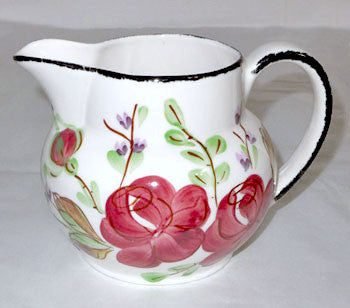Blue Ridge / Southern Potteries - Antique Shape Milk Pitcher - Annettes Wild Rose Pattern 4 1/2""
