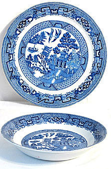 "Wood & Sons - Woodsware - Blue Willow - 2  Dinner Plates 10"" & 1 Soup Bowl 7 1/2"""