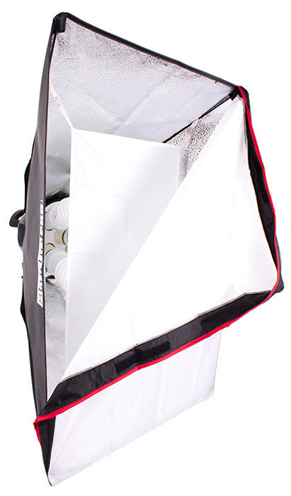 A continuous lighting 5-Socket Softbox with two layers of diffusion panels.