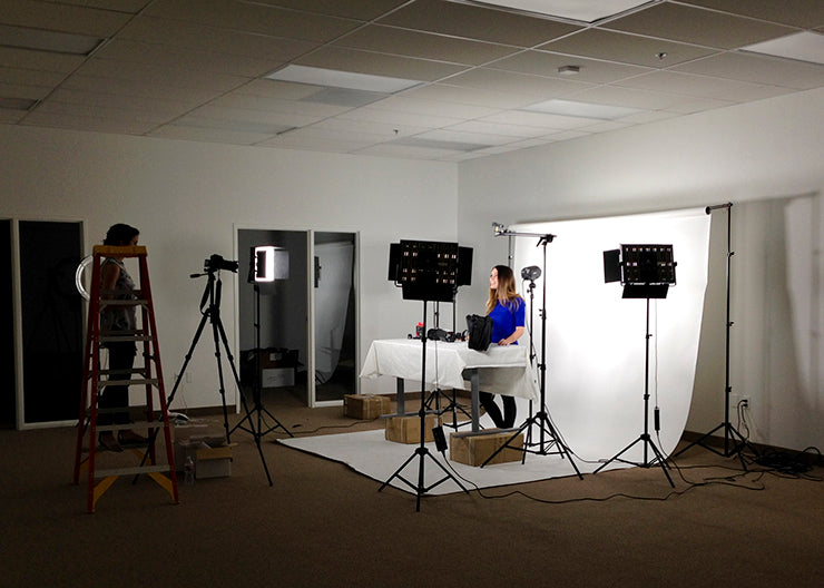 "On location at Fovitec studios shooting our next instructional video on""How To Use StudioPRO Monolights."""