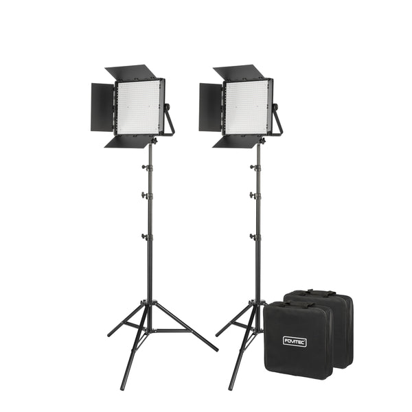 600XB Bi-Color LED Panel with DMX, 2-Light Kit with Stands