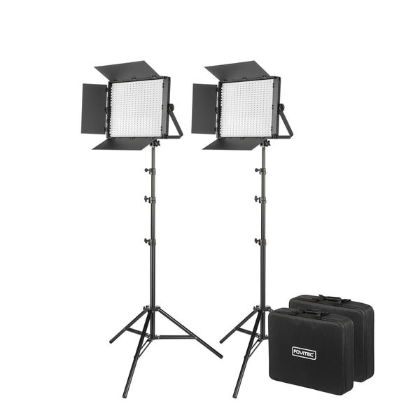 900XD Daylight LED Panel with DMX, 2-Light Kit with Stands