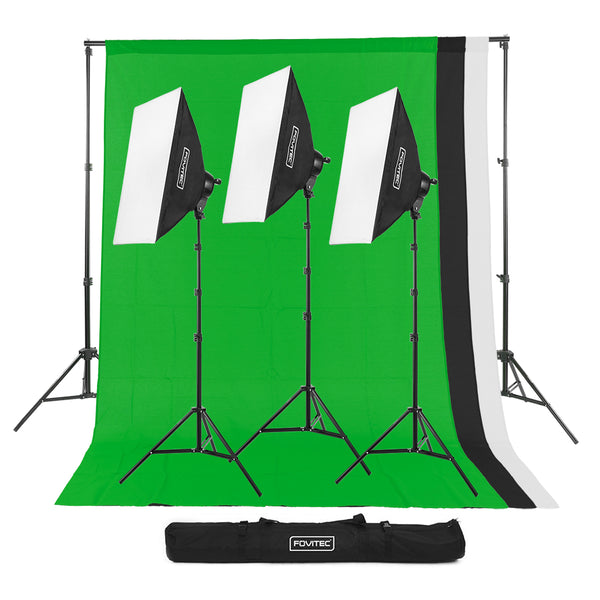 Classic 3-Light Studio Kit with 10 x 12' Backgrounds