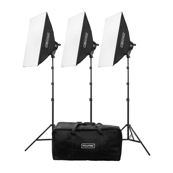 Classic 3-Light Fluorescent Lighting Kit with Bag