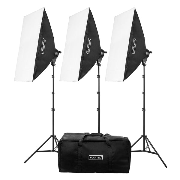 Deluxe 3-Light Fluorescent Lighting Kit with Bag